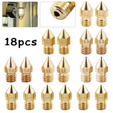 18Pcs Nozzles M6 Brass Nozzle Print Head For 3D Printer Part 1.75mm MK8 Extruder Supplies Accessories цена 2017