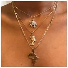 3 unids/set Vintage elefante de cristal pirámide antiguo faraón egipcio mapa colgante oro multicapa collar Punk Lady joyería regalos