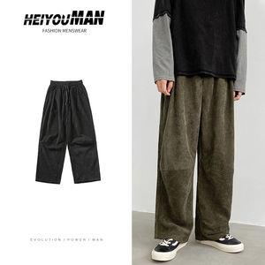 Autumn Corduroy Pants Men's Fashion Retro Casual Drawstring Straight Pants Men Streetwear Loose Hip-hop Pleated Trousers Mens
