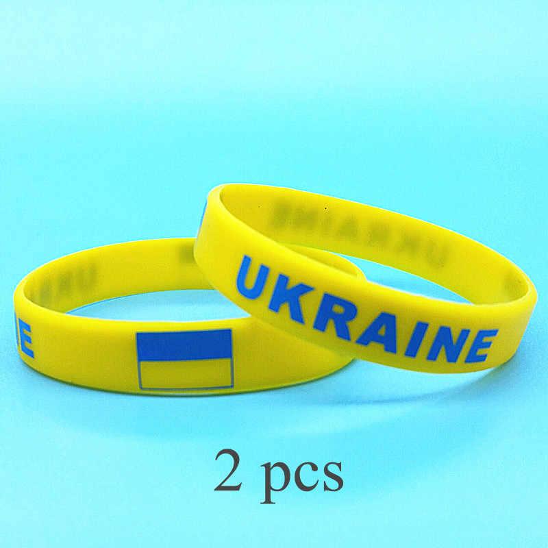 2pcs Ucraina Bandiera Del Braccialetto Delle Donne Degli Uomini di Sport Del Wristband Del Silicone di Giochi Olimpici di Stampa di Potere della Fascia di Polso Bracciale In Gomma Braccialetto Regali