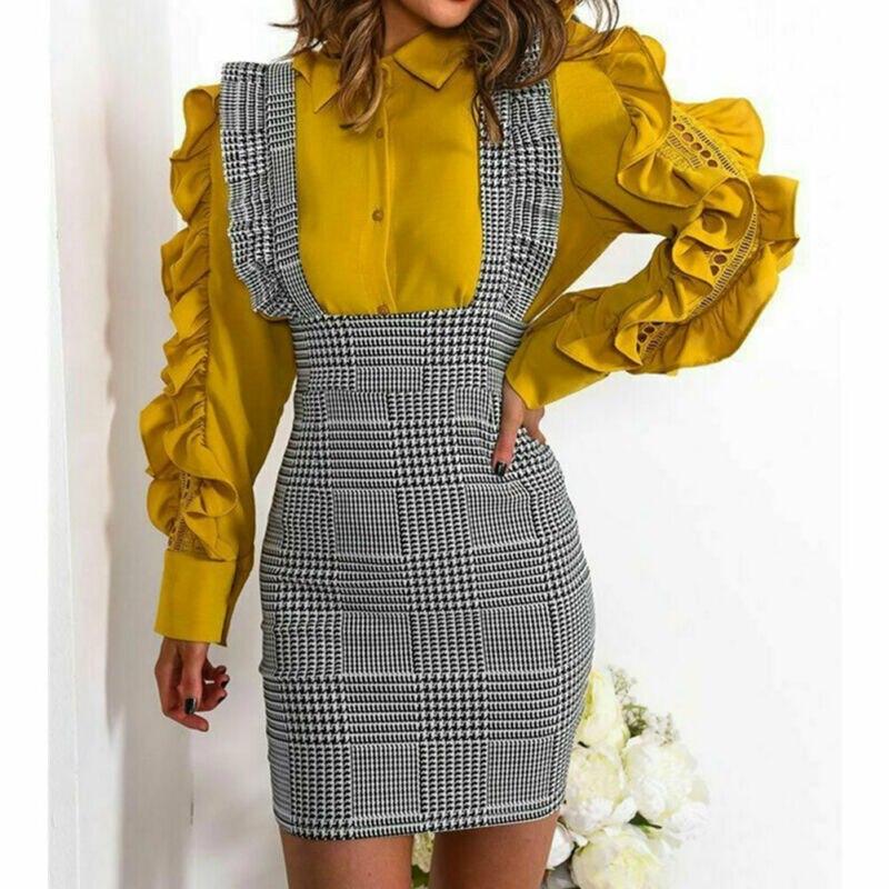 Hot Women's Sexy Fashion Braces Skirt Ladies New Suspender Check Frill Ruffle Trim Pinafore Bodycon Mini Skirts