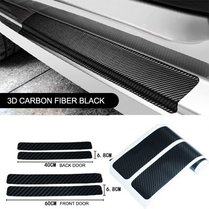 Car Door Sill Protector 5Pcs Carbon Fiber Anti Scratch Scuff Plate Protect Stickers Car Door Guard Trim Cover with Scraper for Universal Car SUV Pickup Truck