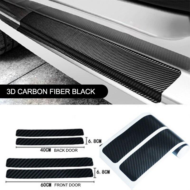 Universal 4pcs 3D Carbon Fiber Scuff Plate Auto Door Edge Sill Strips Protector Anti Scratch Guards For Car Stickers Accessories