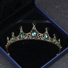 Vintage imitación Esmeralda cristal Tiaras y coronas joyería para el cabello mujeres niñas tiara Boda nupcial accesorios para el cabello