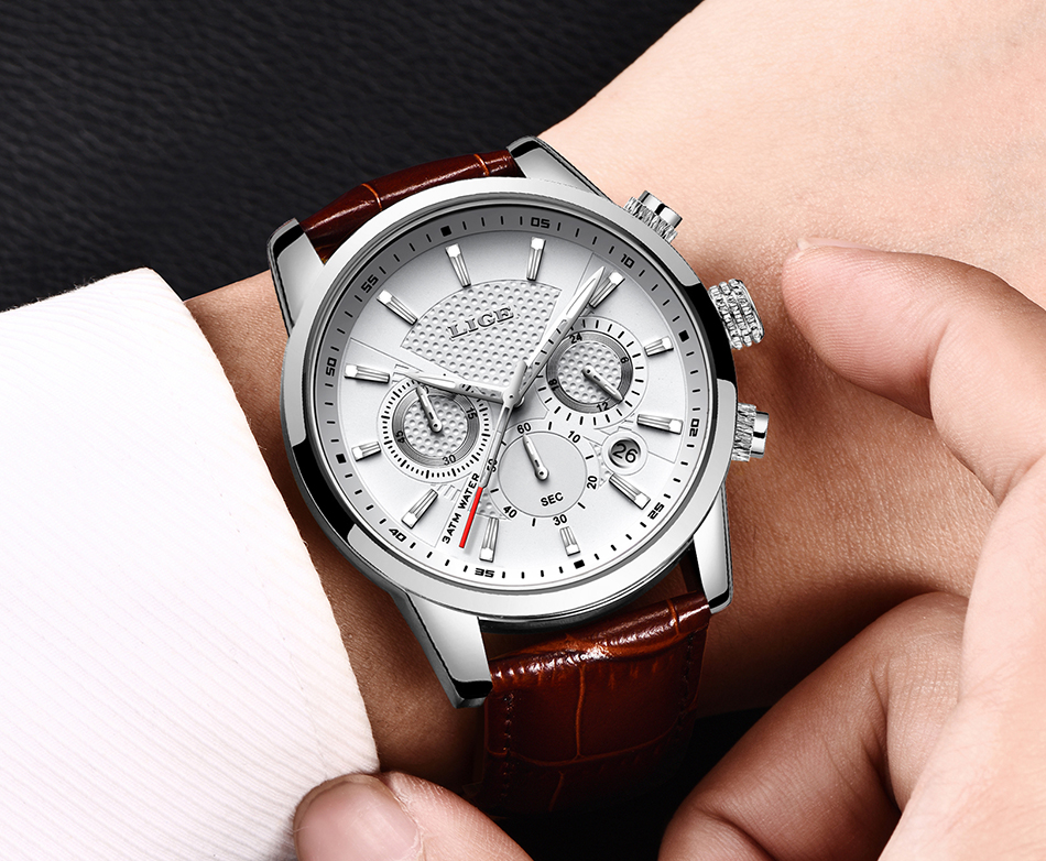 H1fe3423023e04e639709c05ba29b2ffdk LIGE New Men Watch Top Brand Blue Leather Chronograph Waterproof Sport Automatic Date Quartz Watches For Mens Relogio Masculino