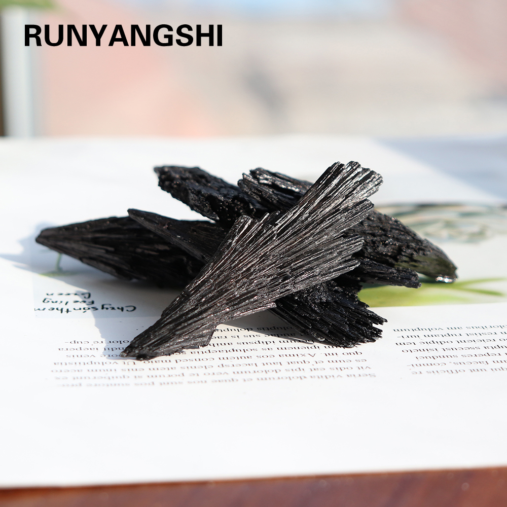 Runyangshi 1 шт. натуральный кварцевый кристалл струйный камень кластер черный из минерала турмалин с лечебным действием, образцы Original ore mark