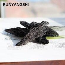 Runyangshi 1pc de cristal de cuarzo Natural de piedra de Jet racimo negro Mineral de turmalina espécimen curativo Original de mark