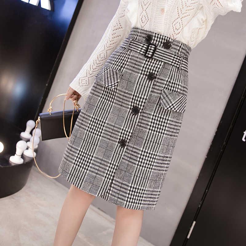 אלגנטי משובץ חצאית לנשים סתיו חורף משרד נקבה גבוהה מותן רטרו בינוני ארוך צמר faldas mujer moda גבירותיי חצאיות
