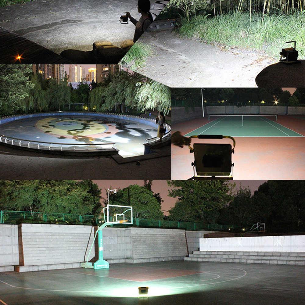 100W Refletor LED Lampade Escursione E Campeggio Lampada del Proiettore Della Luce di Inondazione COB LED Spotlight Lampada Da Giardino Con 6x18650 batteria E caricatore