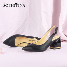 SOPHITINA Fashion Women Pumps Contrast Color Buckle Strap So