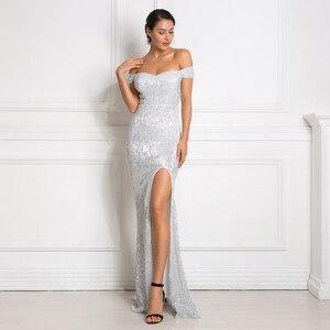 Image 4 - Gümüş Payetli Maxi Elbise Bölünmüş Ön Kapalı Omuz Bodycon Kat Uzunluk Elbise Zarif Mermaid Elbise