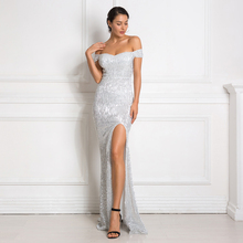 Silver Sequined Maxi Dress Split Front Off The Shoulder Bodycon Floor Length Dress Elegant Mermaid Dress недорого