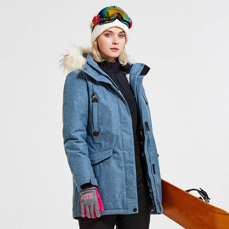 Bujiwu Brand Women Ski Jacket Snowboard Clothing Winter Coat Windproof Waterproof Outdoor Sport Wear Female Thicken Thermal Coat