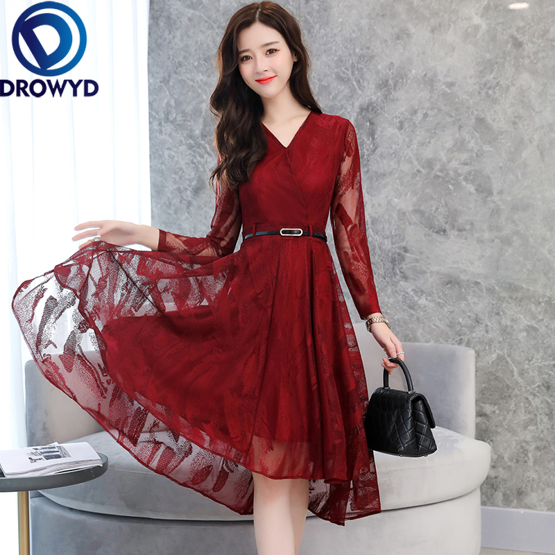 DROWYD Queen Vintage Lace Midi Dress For Women Fashion Girl Bohemian V-neck Burgundy Dress Elegant Club Party Dresses Vestidos