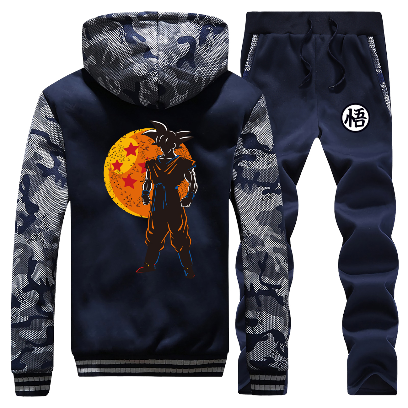 Streetwear Mens Suit Hooded Winter 2019 Dragon Ball Anime Camouflage Raglan Coat Thick Jackets Zipper Hoodie+Pants 2 Piece Set