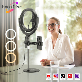 HOCO 12inch LED Selfie Ring Light with Stand 3 phone holder Tripods 3 Colors Lighting For Youtube Live stream Video Photography