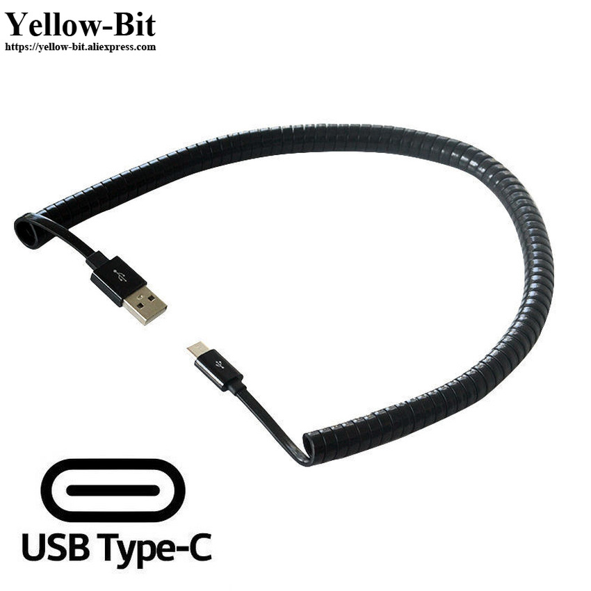 Black USB 3.1 TYPE-C male to male spring adapter Cable 1 meter