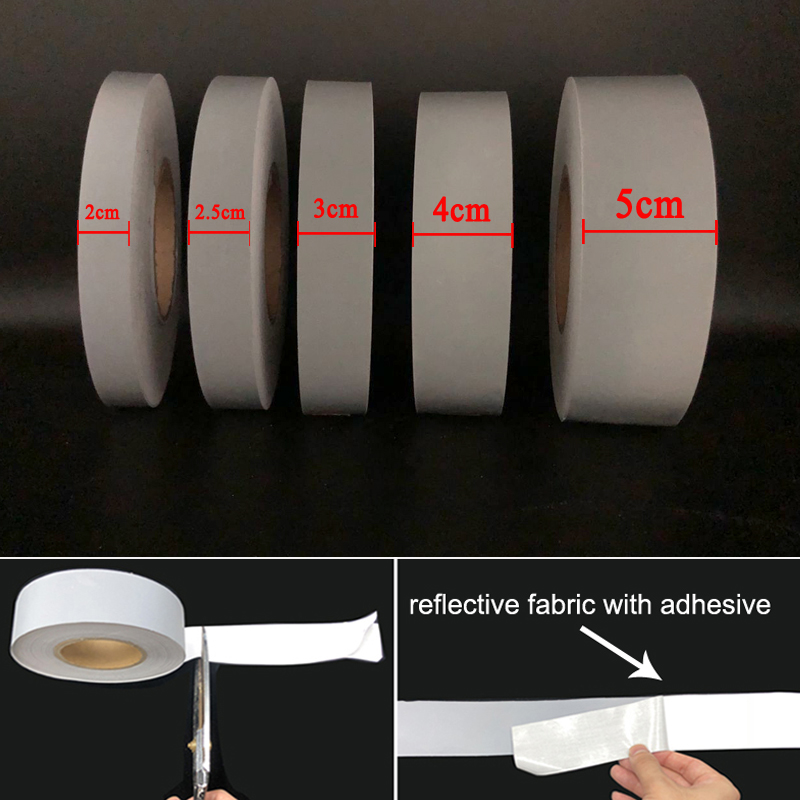 Highly Visible Reflective Tape Fabric DIY Accessories For Garments Self-adhesive Reflective Stripe
