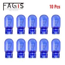 Fagis 10 шт. 580 7440 7443 W21/5 Вт W21W супер белый T20 натуральное голубое стекло лампы 12V 21 Вт Автомобильные лампы сигнала поворота светильник Предупрежд...