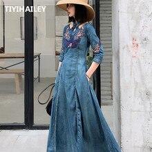 TIYIHAILEY Verschiffen Mode Frühling Autum Stickerei Halbe Hülse Denim Kleider Für Frauen Lange waden S 2XL Vintage Kleid
