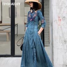 Tiyihaely الشحن موضة الربيع الخريف التطريز نصف كم فساتين من الجينز للنساء طويلة منتصف العجل S 2XL فستان خمر
