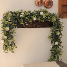 PARTY JOY Artificial Flowers Garland Fake Poney Eucalyptus Vine Greenery Hanging for Wedding Home Party Garden Craft Art Decor