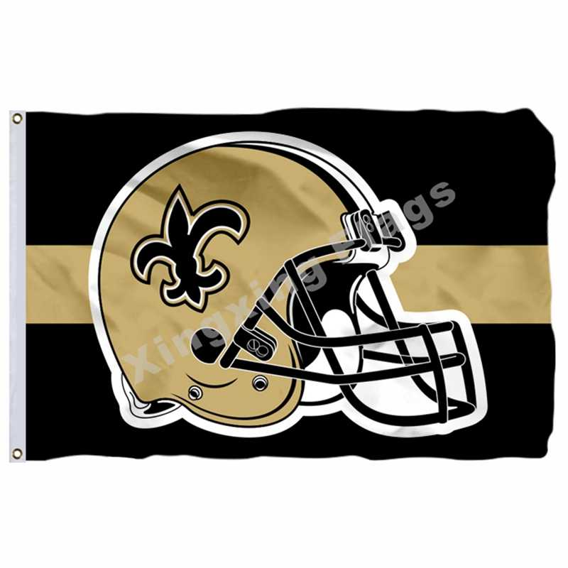 New Orleans Saints Helm Horizontale Streifen Flagge 3ft X 5ft Polyester Team Banner Fliegen No.4 Größe 4 90X150cm Custom Flagge