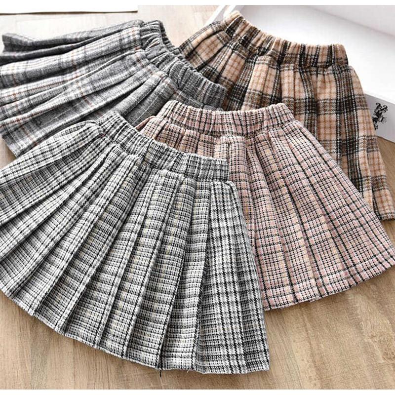 Autumn Winter Kids Children Plaid Wool Pleated Skirt For Toddler Baby Girls Korean Princess Tutu Skirts 1 2 3 4 5 6 Years Old