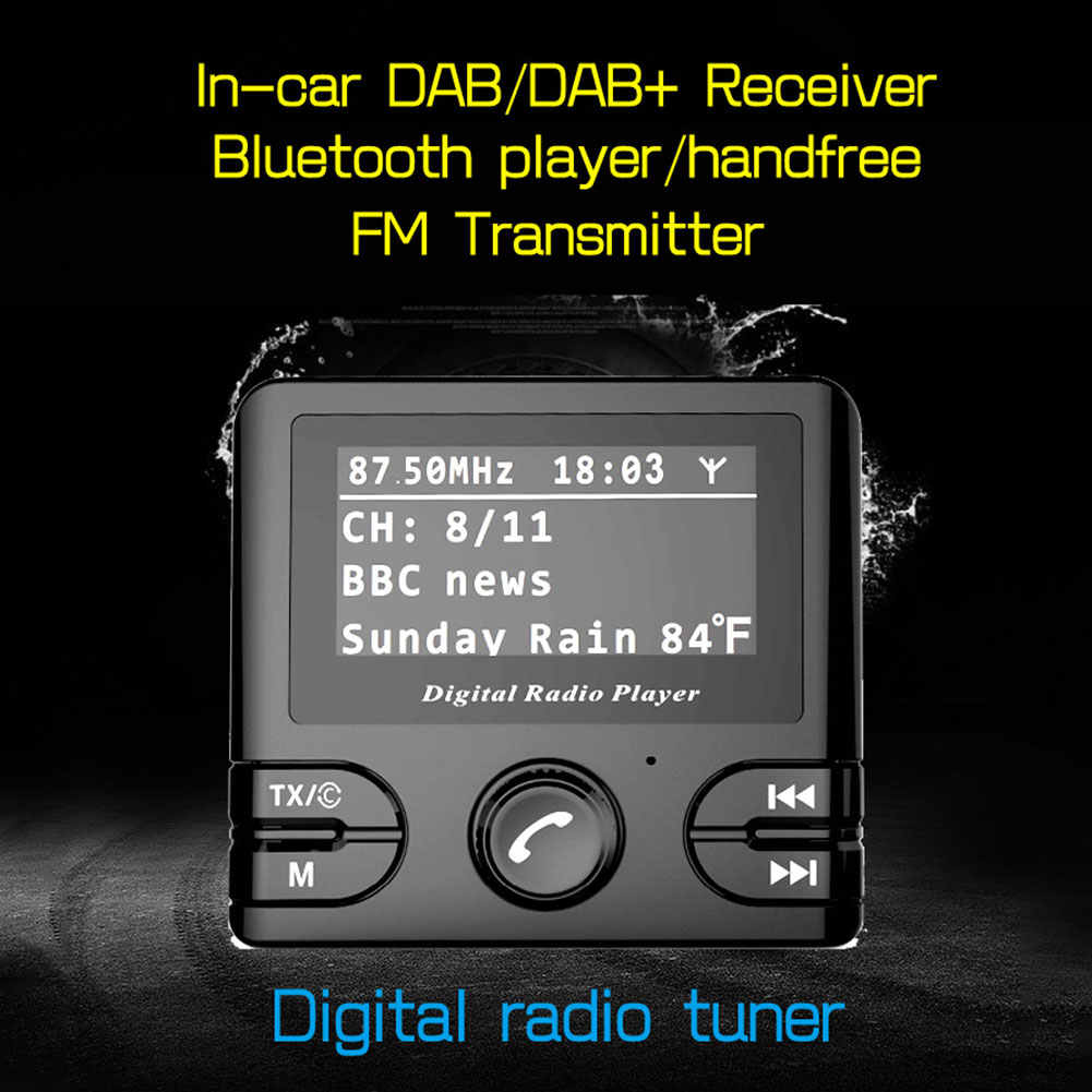 Автомобильный цифровой радиостанция DAB адаптер ресивер FM-передатчик Bluetooth потокового воспроизведения музыки