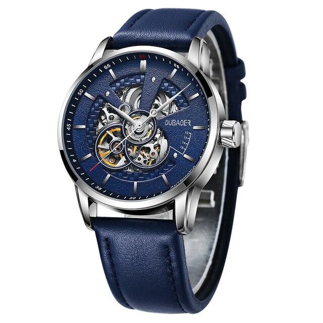 OUBAOER Mens Watches 2021 Mechanical Automatic Top Brand Luxury Tourbillon Self Winding Leather Sport  Wristwatch 2