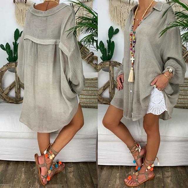 Long Sleeve Plus Size Linen Shirt Women White Button Down Shirt Loose Casual Cotton Blouse Womens Tops and Blouses Shirts Blusas 3