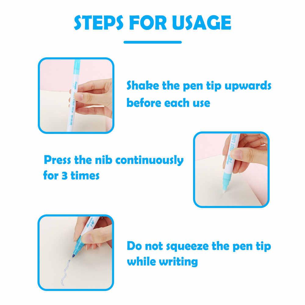 موضة قلم تحديد دائم مريحة المحمولة حساسة مزدوجة خط الفلورسنت قلم تحديد القرطاسية طالب 8 ألوان