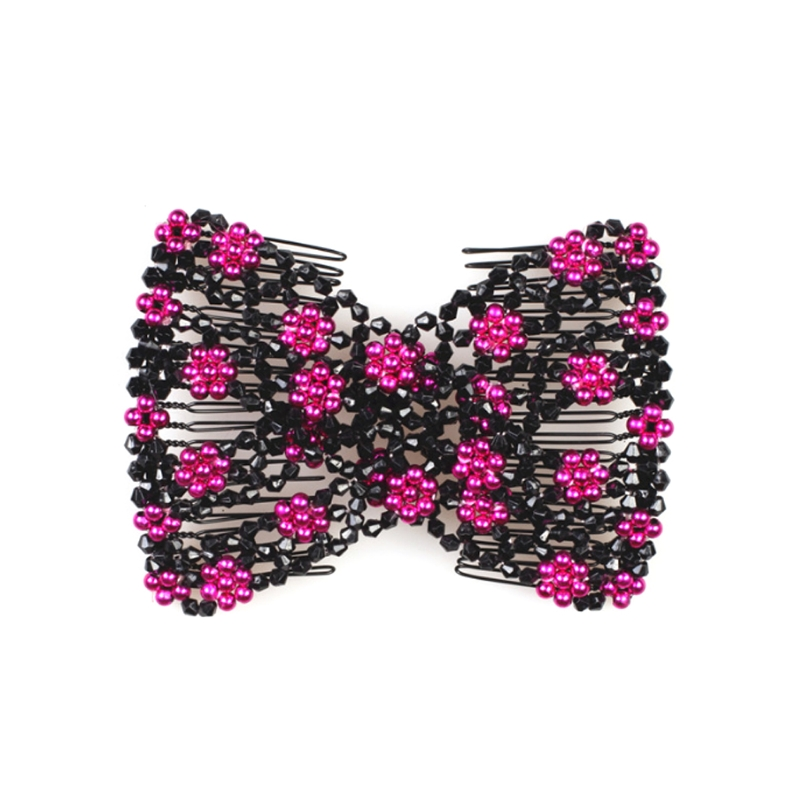 Magic Hair Comb Double Stretch Fashion Elastic Women Clips DIY Hairstyle Beaded