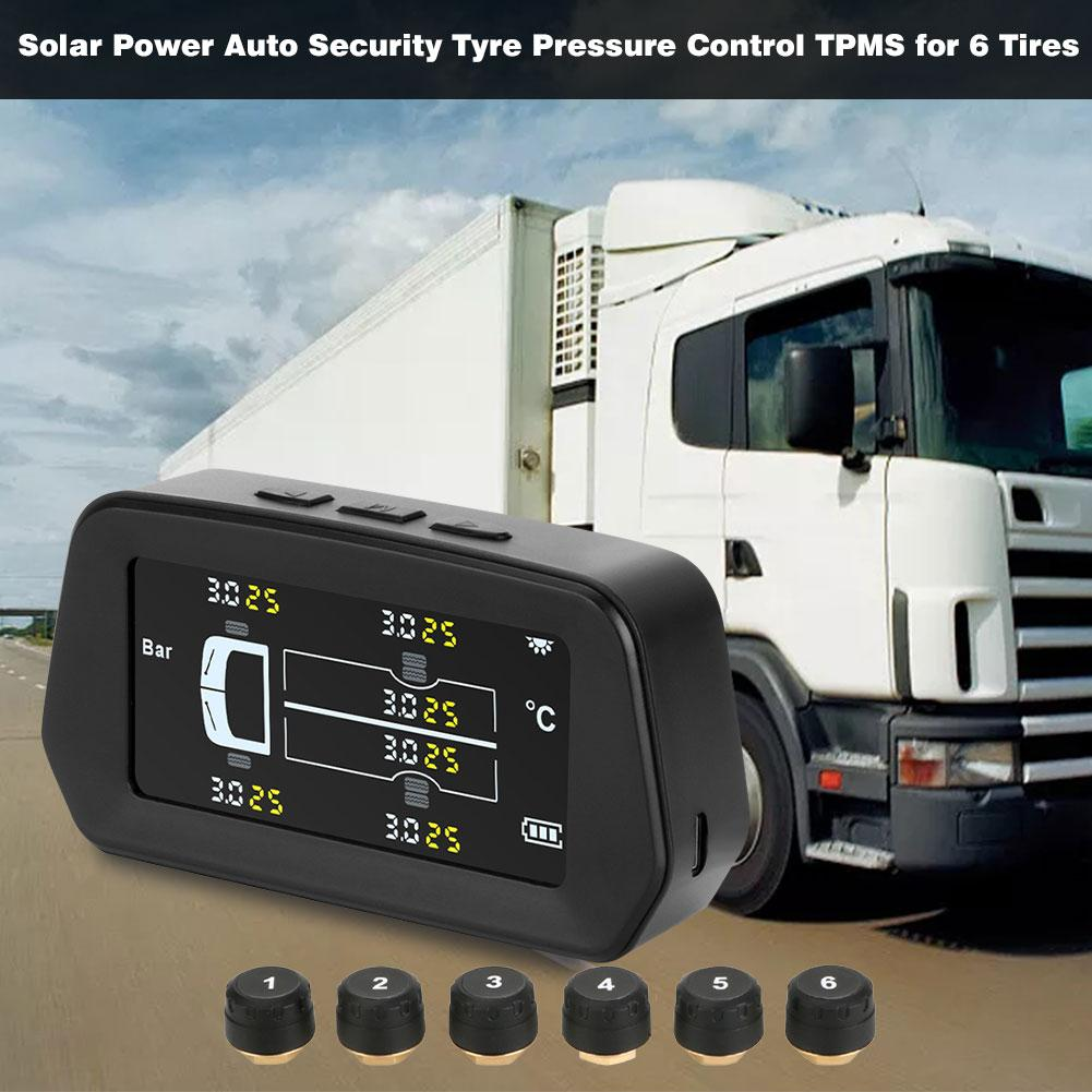 Car Tire Pressure Sensor Durable Temperature Warning Fuel Save Car Tyre Pressure Monitor System Pressure Control TPMS for 6 Tire