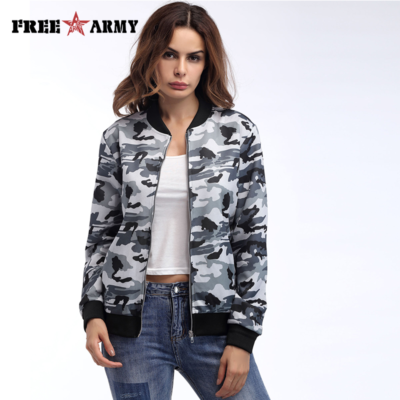 FreeArmy New Camouflage O-neck Women Jacket Comfortable Causal Sport Simple Jacket Female