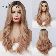 Synthetic Wig Light Brown Body-Wave Daily-Hair Heat-Resistant Cosplay Black Long Ombre