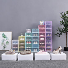 6PCS Transparent Plastic Clamshell Shoe Box Thickened Dustproof And Waterproof Foldable Household Combination Shoe Cabinet