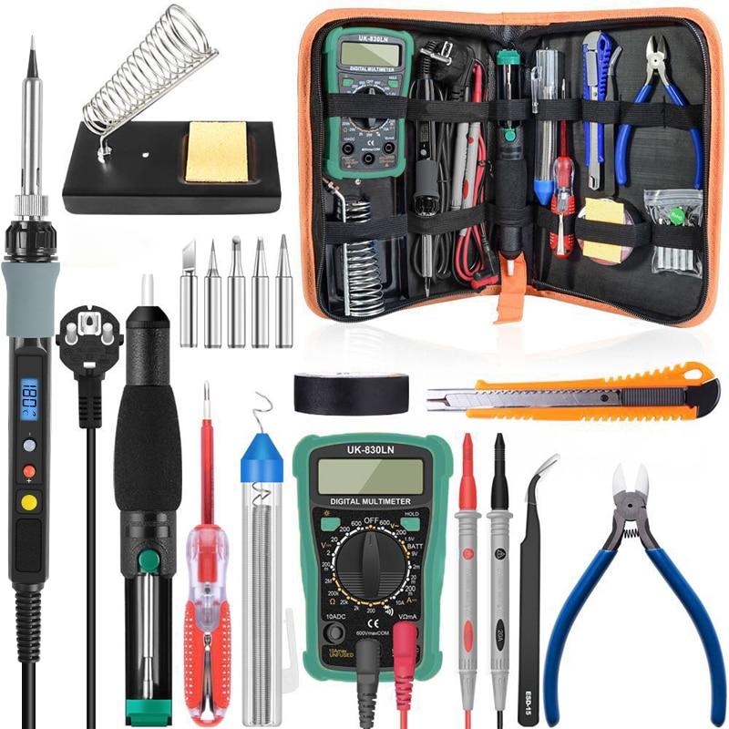 Tools : 60W 110V 220V Electric Soldering Iron Kit Adjustable Temperature Soldering Station Iron Stand Desoldeirng Pump Welding Tools