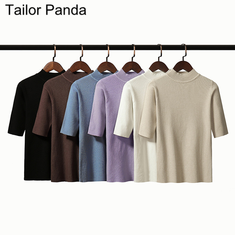 Women Short Sleeve Half Sleeve T Shirt Sweater Plus Size Turtleneck Pullovers Half Sweaters 2020 Winter New Flexible Knitted