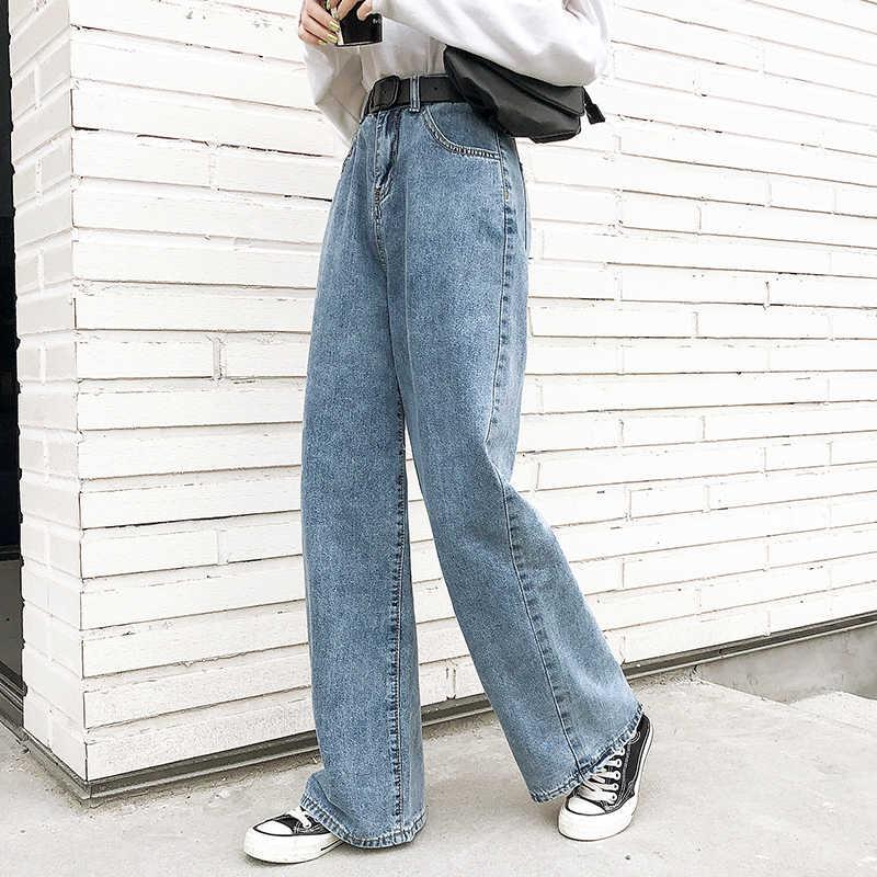 Las Mujeres De Cintura Alta Pantalones Vaqueros De Estilo Boyfriend Para Mujer Mama Jeans Primavera Azul De Algodon Pantalon De Mezclilla De Moda De Las Mujeres Pantalones De Pierna Ancha Pantalones Pantalones Vaqueros