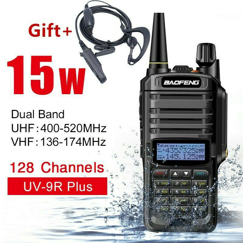 Baofeng UV 9R Plus Walkie Talkie 15W 10km Range VHF UHF Dual Band Handheld 2 Way Radio IP67 Waterproof Dustproof High Quality