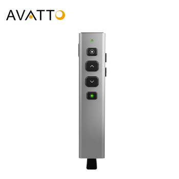 AVATTO G600 Aluminum Alloy Green Laser Wireless Pointer Presenter with Spotlight, PowerPoint Presentation Remote for projector
