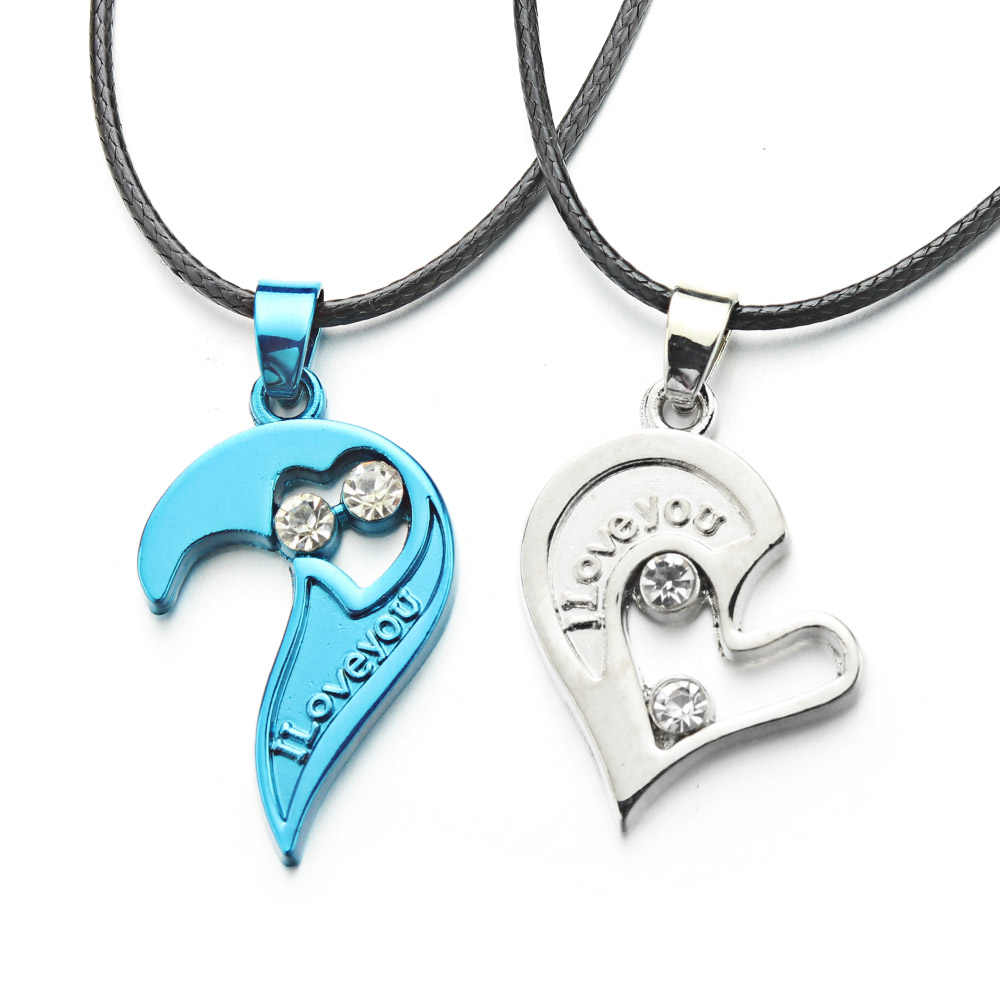 2 pièces/ensemble Couples colliers amour couture coeur pendentif pour amoureux hommes et femmes bijoux saint valentin cadeau X621