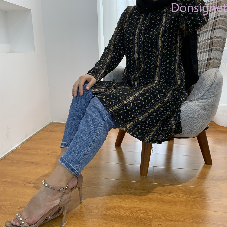 Donsignet Muslim Women Muslim Fashion Women's Plus Size Shirt Arab Ramadan Double Pocket Blouses & Shirts Long Sleeve Shirts
