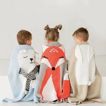 1pc Baby Cotton Blanket 3D Warm Rabbit Knitting Bedding Quilt Blanket For Bed Stroller Wrap Infant Swaddle Baby Photography Prop