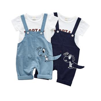 Letni zestaw ubrań dla chłopców Cartoon maluch niemowlę dziewczynki stroje T-shirt + spodnie na szelkach zestawy ubrań dla dzieci dres dla dzieci tanie i dobre opinie Moda O-neck Swetry HB001 COTTON Unisex Krótki REGULAR Pasuje prawda na wymiar weź swój normalny rozmiar Szorty
