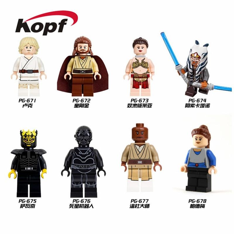 Single Sale Building Blocks Luke Skywalker Padme Naberrie Princess Leia Qui-Gon Jinn Model Bricks Toys Gift For Children PG8028