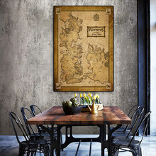 Wall Art Middle Earth Vintage Map Poster Game Of Thrones Movie Home Decor Silk Cloth Fabric for Living Room Bed Room Unframed(China)