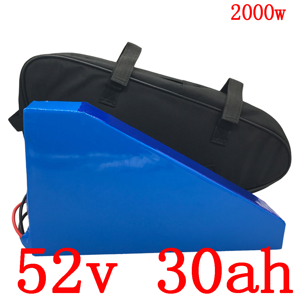 52V 30AH electric bike battery 52V Lithium battery pack 52V 1000W 1500W 2000W electric scooter battery use LG cell with charger|triangle battery|electric bike battery|bike battery - title=