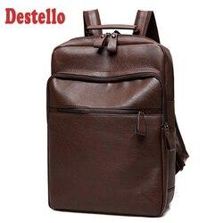 New Fashion PU Leather Backpack Men Waterproof Backpack Men Backpack for Travel Business Backpack Laptop PU Bag 14 Inch Mochila